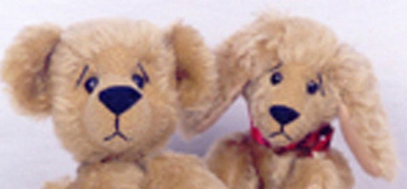 Two Full PDF Patterns for Jointed Mohair Teddy Bear & Dog