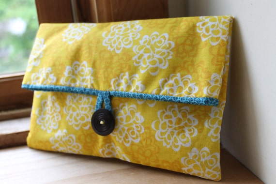 Yellow and Turquoise Button Clutch