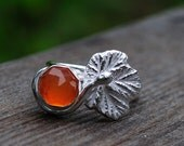 Rose cut carnelian berry ring, silver with carnelian cloudberry, made to order. Rose cut gemstone ring.