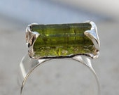 Raw tourmaline ring - size 6.5