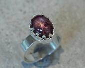 Silver star ruby ring