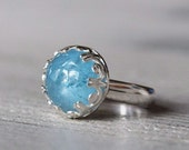 Aquamarine ring silver size 5.5. March birthstone. Sterling silver ring with sky blue aquamarine