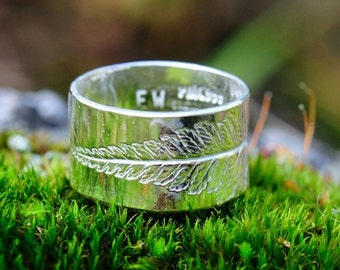 Fern ring, silver ring with leaf imprint. Made to order ring