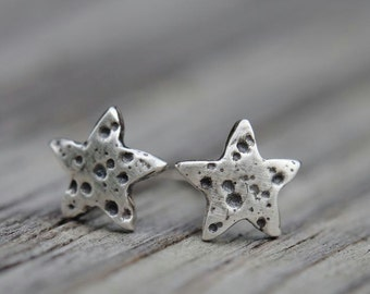 Small star stud earrings, textured silver and patinated