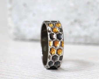 Honeycomb ring, bee ring, sterling silver ring with 22K gold honey details, beekeeper gift, made to order ring