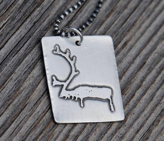 Reindeer pendant, sterling silver dog tag petroglyph