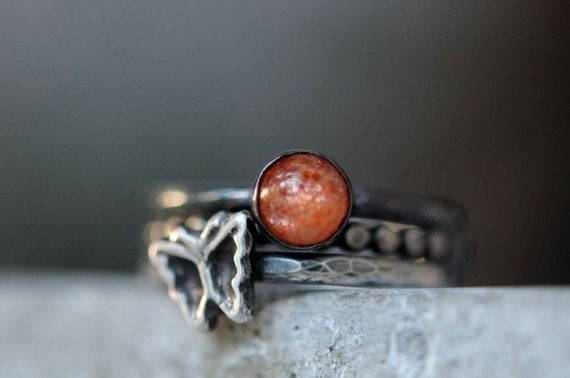 Silver stacking ring set with butterfly and sunstone. Hammered stack rings. Sterling stacking rings size 6.