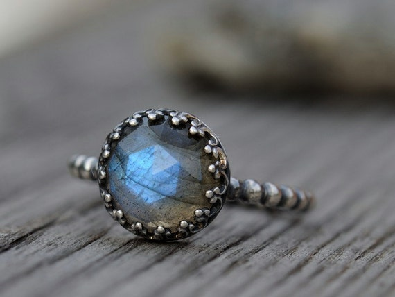 Blue labradorite ring sterling silver size 7
