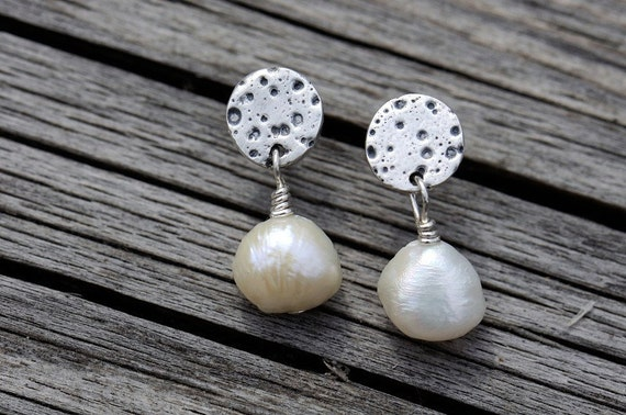 Reserved - Sterling silver and pearl earrings. Textured silver and patinated discs with dangly cream white pearls. Small dangles.