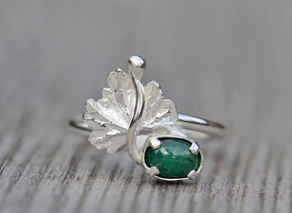Sterling silver emerald ring, gooseberry leaf with genuine emerald. May birthstone.