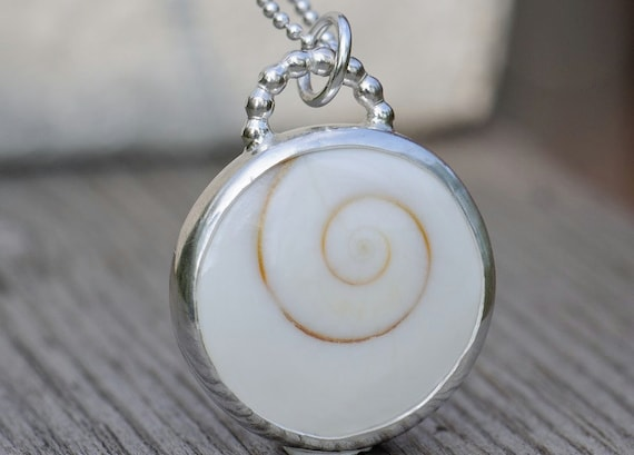 Sea shell necklace. White shiva eye shell pendant in sterling silver. Handmade sea shell jewelry.
