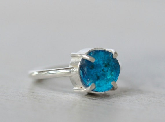 Rough apatite ring sterling silver. Electric neon blue apatite. Size 7.