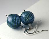 Blue Blown Glass Earrings, Blue Green Swirl Handblown Glass, Sterling Silver, Hollow Glass, Stocking Stuffer