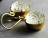White Estate Style Earrings - 14K Gold-Fill, Clear White Vintage Glass Sugar Stones, Estate Style, Short, Petite, Small