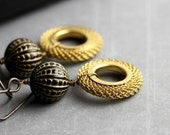 Black and Gold Earrings - Vintage Carved Lucite, Vintage Brass Mesh Open Circles
