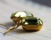 Estate Style Earrings - Short, Jonquil Yellow Vintage Faceted Glass, 14K Gold Fill