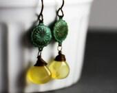 Lemon Verdigris Earrings - Pale Yellow Chalcedony Briolettes, Verdigris Patina Brass