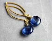 Royal Blue Earrings - Kyanite Gemstones, 14K Gold Filled Wire, 24K Vermeil, Handmade Jewelry