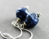 Periwinkle Blue Earrings - Sterling Silver, Lightweight, Carved Pattern Etched Lucite, Ice Frost Winter