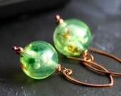 Copper and Green Earrings - Lime Green Vintage Lucite Confetti Beads, Copper, Handmade - Margarita