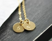 Gold Initial Necklace, Personalized Charm, 14K Gold Fill, Custom Monogram, Two Charms, Hand Stamped