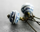 Soft Blue Earrings - Etched Lucite Pattern, Vintage, Antique Blue and White, Romantic Winter Frost Shabby Chic Ready to Ship