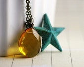 Star Verdigris Necklace - Golden Yellow Quartz Briolette, Verdigris Patina Star Charm, Southwestern Necklace, Ready to Ship