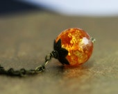 Madeira Citrine Necklace - Orange Faceted Round Pendant, Antique Brass Chain - Pendulum Ready to Ship