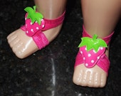 Pink Polka Dot Strawberry baby barefoot sandals