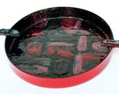 Vintage Vallenti Enamel Ashtray  - Red,Grey and Black Abstract Design