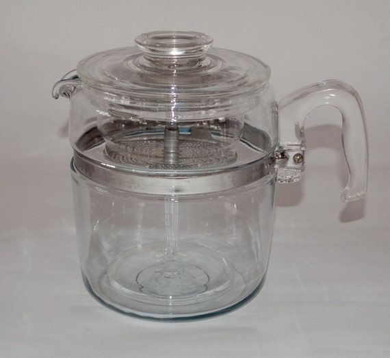 Pyrex Coffee Maker How To Use : Vintage Glass Pyrex Coffee Pot Nine Cup by 27thAVE on Etsy