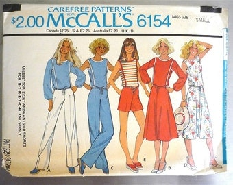 Vintage Sewing Pattern Women's 70's McCalls 6154, Tops, Skirt, Pants and Shorts (XS-S)