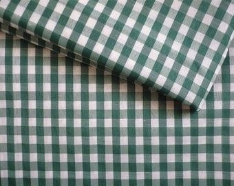 Vintage Fabric 80's Cotton, Polyester Blend, Checkered, White, Green, Material, Textiles