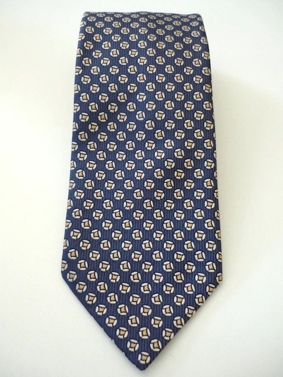 Vintage Neckties Men's 90's Silk Charvet Blue Circle Print 835 FreshandSwanky on Etsy
