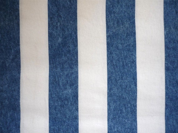 Vintage Fabric 80's Jersey Knit Cotton White, Blue Nautical Striped 202 FreshandSwanky on Etsy