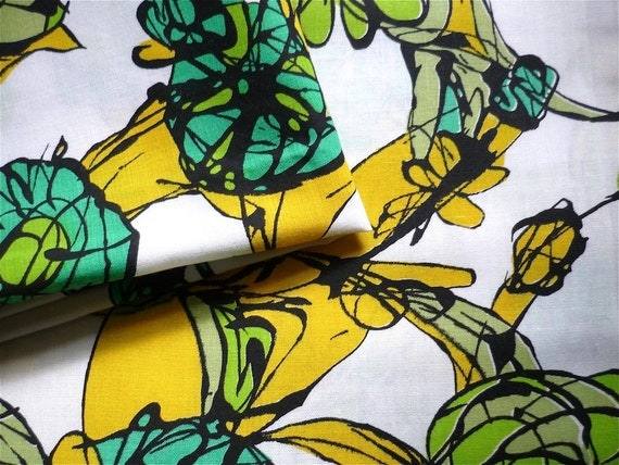 Reserved-Cerise Vintage Fabric 70's Cotton White Abstract Floral Print in Yellow Green Black FreshandSwanky on Etsy