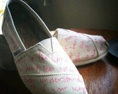 your desired words, lyrics,  verse,or quote in paint pen only- hand drawn on TOMS shoes-made to order