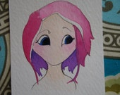 wishing for hair color-original watercolor painting-2 1/2 in x 3 1/2 in