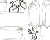 Bike- drawn on in paint pen only- hand painted on TOMS shoes-made to order