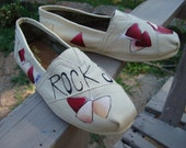 Rock On-gitar-hand painted on TOMS shoes-made to order