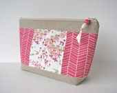 RESERVED FOR GLADYS - Cosmetic Bag in Flower Fields in Berry with Herringbone with water resistant lining