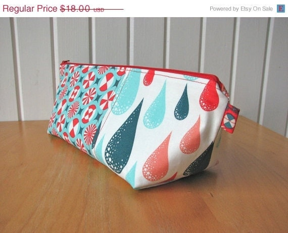 Zipper Pouch in Prince Charming in Coral - ready to ship
