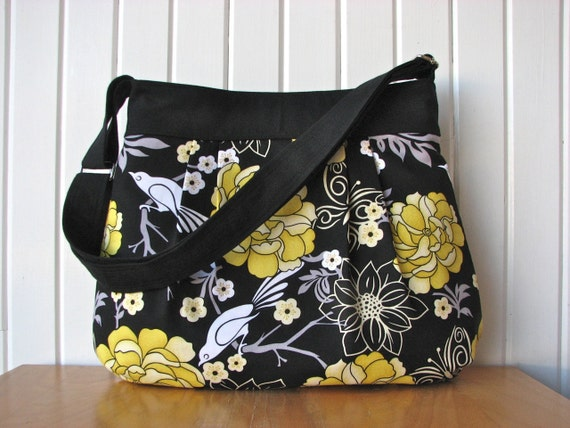 Large Pleated Cross body Bag in Yellow Peonies, Birds on Black - ready to ship
