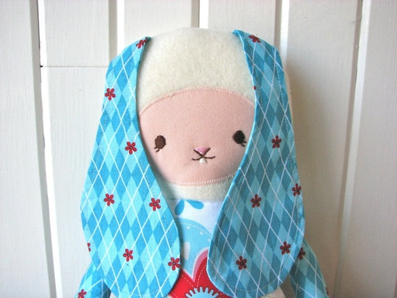 Cloth Doll Bunny In Blue Red And White Floral With By