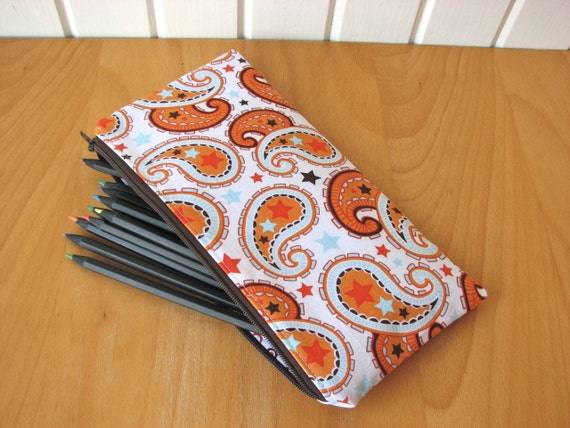 SALE Zipper Pouch or Pencil Case in All Star 2 Orange Paisley - ready to ship