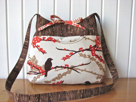 Crossbody bag in Sparrows and Woodgrain in Bark - ready to ship