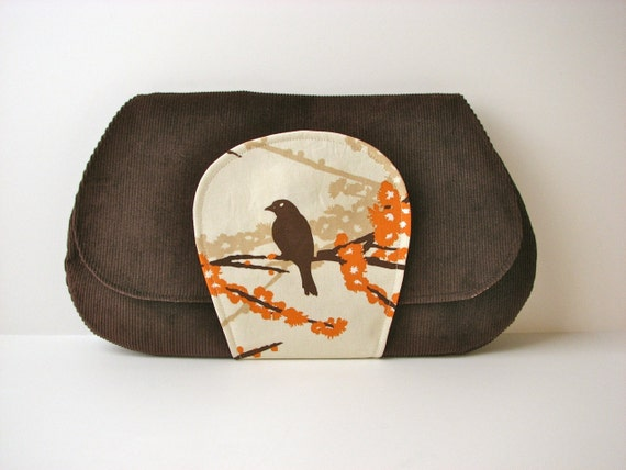 SALE Large Clutch Purse in Sparrow in Almond with brown corduroy - ready to ship (reg 48)