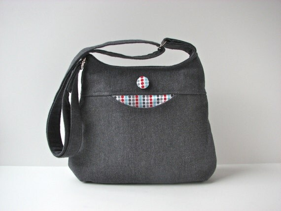 Cross body bag in Grey with Aqua, Red and Grey dots - ready to ship