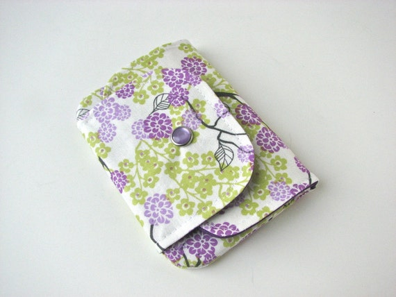 Mini Snap Wallet in Purple and Green Cherry Blossoms - ready to ship