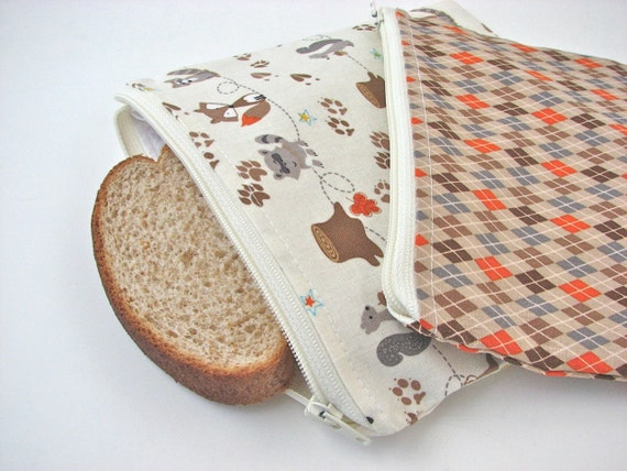 Reusable Snack Bag and Sandwich bag set of 2 in Woodland animals and argyle - MADE TO ORDER